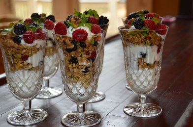 Granola, Yogurt, Fresh Berries and Mint